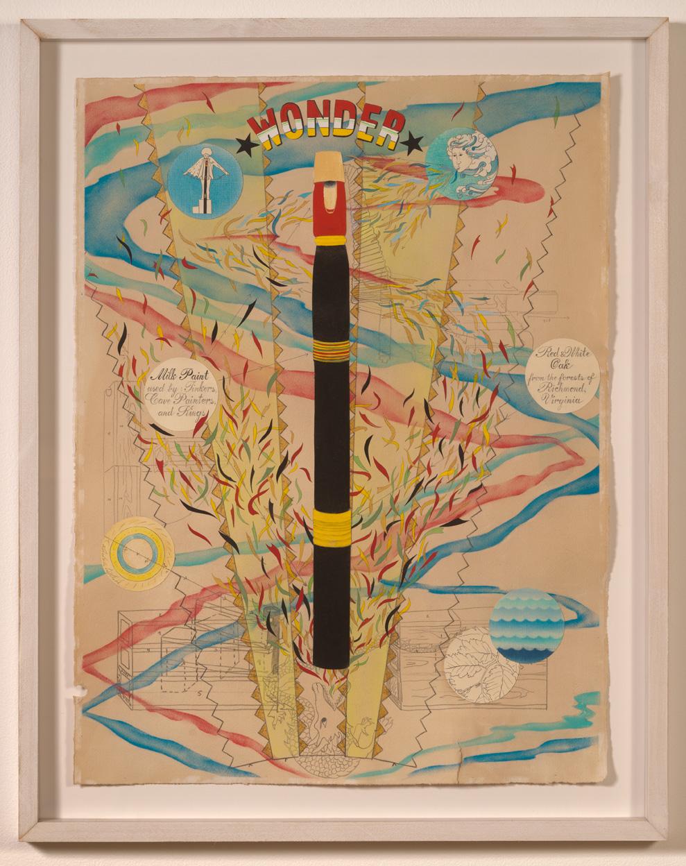 Untitled (Wonder). Rotem Tamir & Amber D. Kempthorn. Pastel, ink, graphite, gouache, milk paint, charcoal, collage.